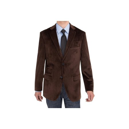 Salvatore Exte Mens Two Button Blazer Modern Fit Velvet Side-Vent Suit Jacket Brown](Velvet Suits)