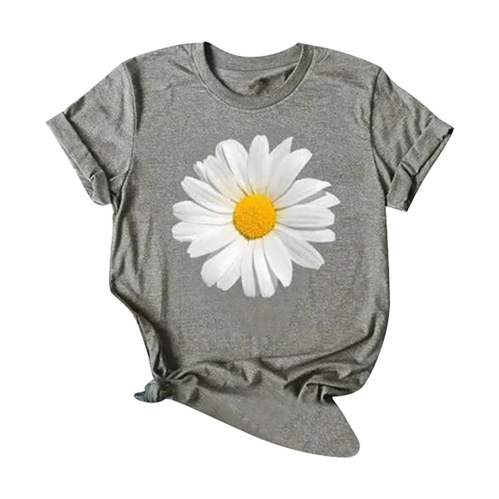 Blouse Women Sunflower T-shirt Short Tops Print O-Neck XXXL Plus Sleeve Summer