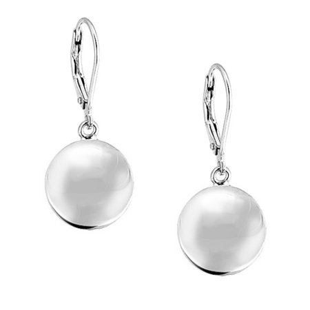 Sterling Silver Lever Back Dangle Ball Shiny 8 Mm Earrings