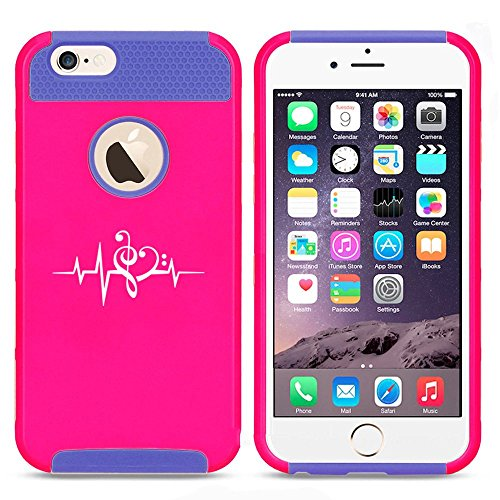 Apple iPhone 5c Shockproof Impact Hard Case Cover Heart Beats Music Treble & Bass Clef (Hot Pink-Blue),MIP