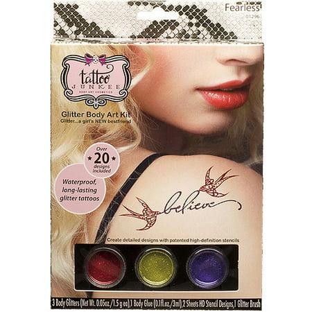 TATTOO JUNKEE Sans Peur Glitter Body Art Kit, 7 pc