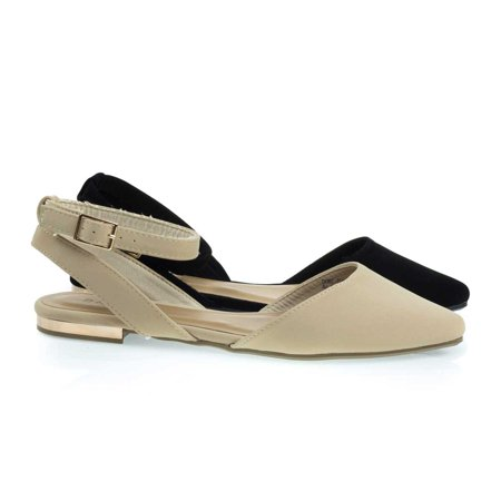 Cynic07 by Bamboo, Open Back Pointed Toe Flats with Ankle Wrap & Low Metallic Block Heel