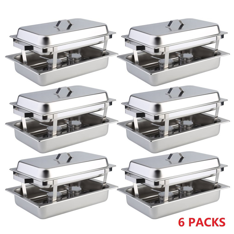 6 Packs Chafing Dishes burners,Food Warmers and Buffet,Catering Menu Deli Trays,8 Quart Full-Size Stainless... by YY