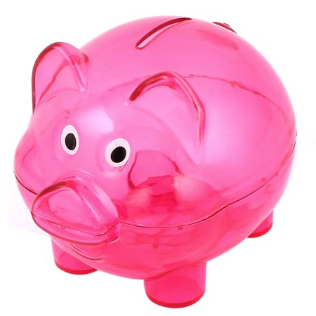 Plastic Pig Shape Money Cash Penny Saving Pot Coin Piggy Bank Clear Fuchsia