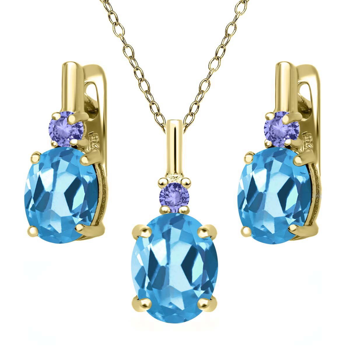 6.68 Ct Swiss Blue Topaz Blue Tanzanite 18K Yellow Gold Plated Silver Pendant Earrings Set by