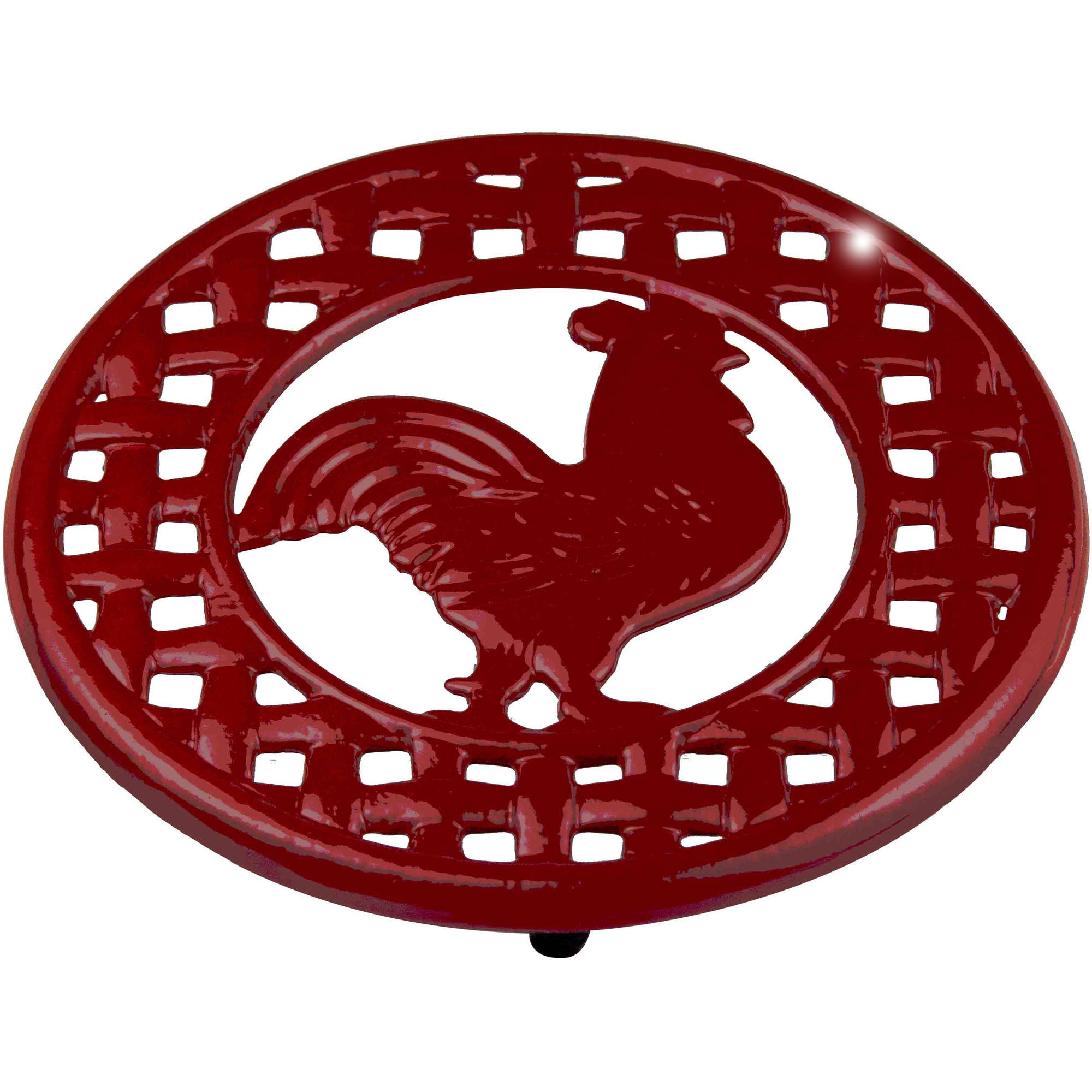 Cast Iron Rooster Trivet, Red