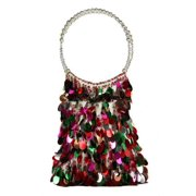 "10"" Diva Fashion Purse White Bucket Handbag with Shiny Multi-Colored Sequins"