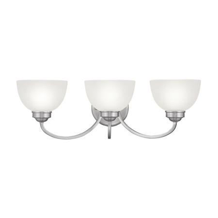 Bathroom Vanity 3 Light With Satin Glass Brushed Nickel Finish size 25 in 300 Watts - World of Crystal