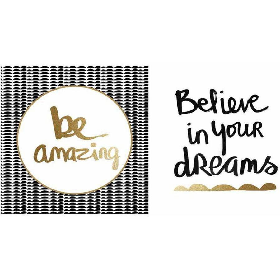 "Believe White and Gold Be Amazing Black and Gold Wall Artwork, 24"" x 12"" by Artissimo"