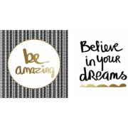 "Believe White and Gold/Be Amazing Black and Gold Wall Art, 24"" x 12"""