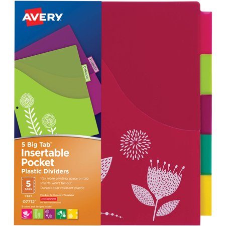 Avery Big Tab Insertable Plastic Dividers With Pockets 07712  5 Tabs  1 Set