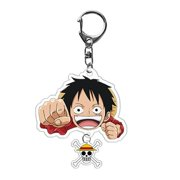 SHIYAO Anime One Piece Keychain Pendant Cute Luffy Chopper Acrylic Double-sided Color Printing Keyring