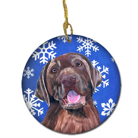 Carolines Treasures SC9384-CO1 Labrador Winter Snowflakes Holiday Ceramic Ornament - image 1 de 1