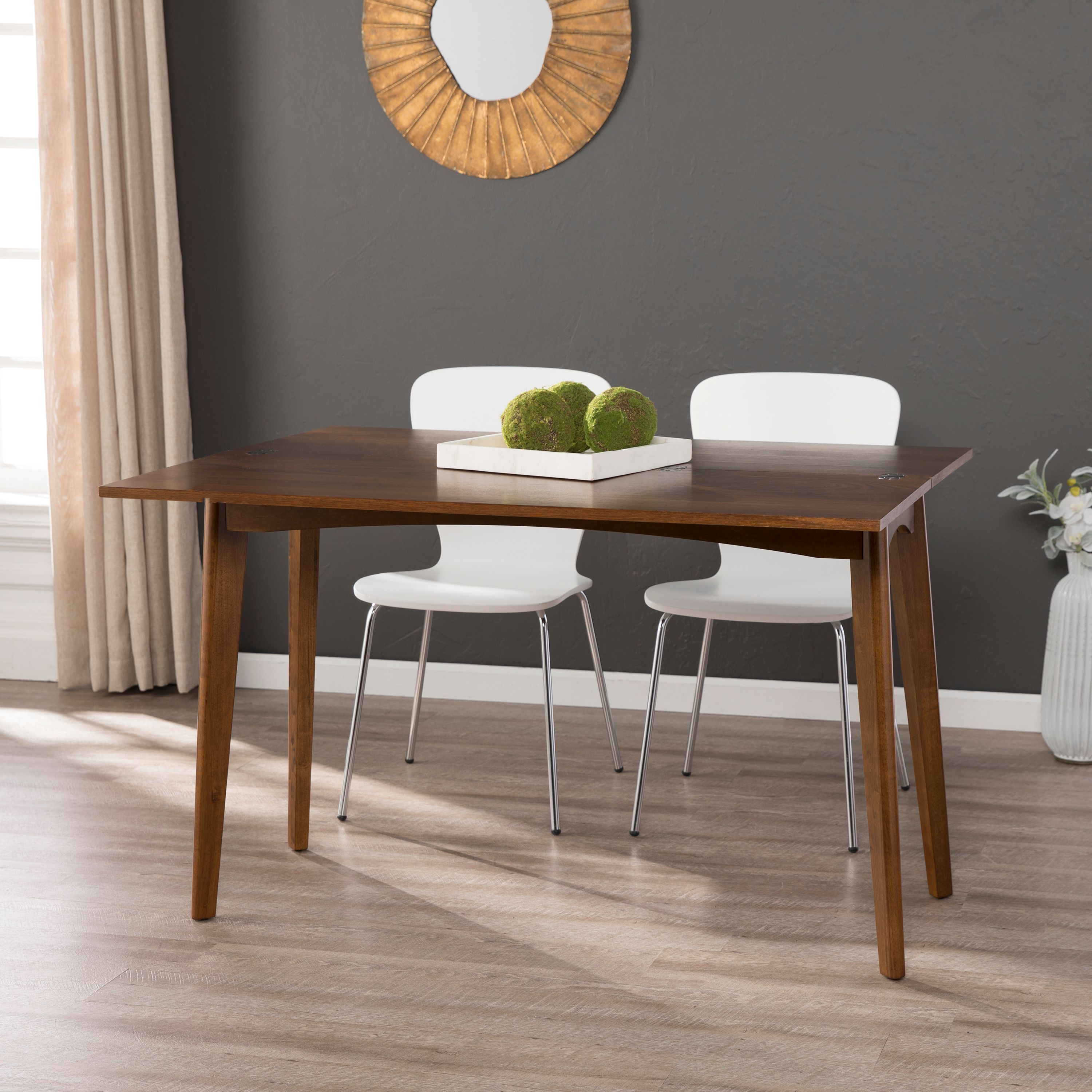 Vandil Convertible Console To Dining Table Midcentury Modern Whiskey Maple