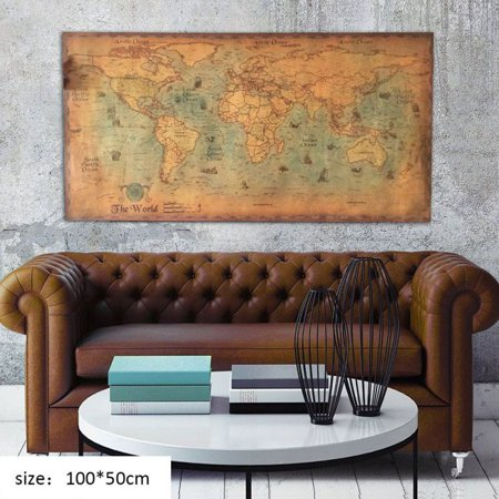 - Cluxwal Home Decorative Poster, Retro Old Art Painting Vintage Style Sea Nautical World Map
