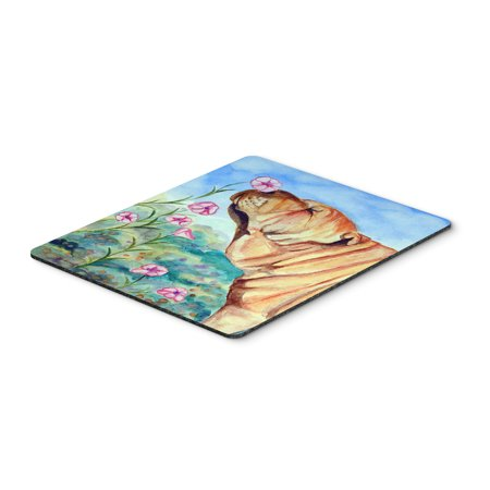 Shar Pei smell the flowers Mouse Pad / Hot Pad / Trivet