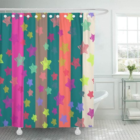 Shower Curtains Pink And Brown.Pknmt Stars And Stripes Hipster Orange Pink Brown White On Turquoise