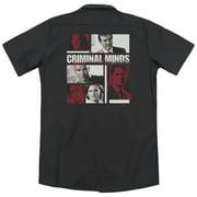 Criminal Minds Character Boxes (Back Print) Mens Work Shirt