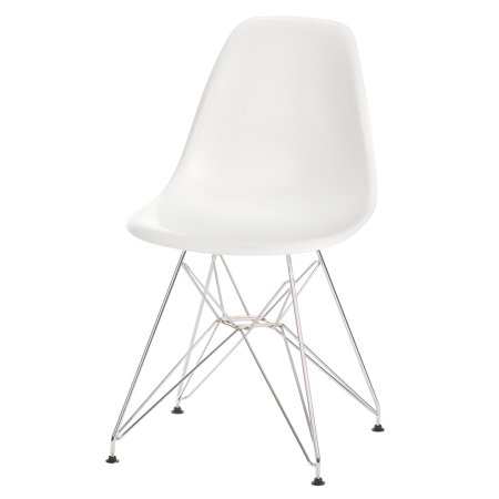 Eames Style DSR White Side Chair Chromed Stainless Steel Base Mid Century