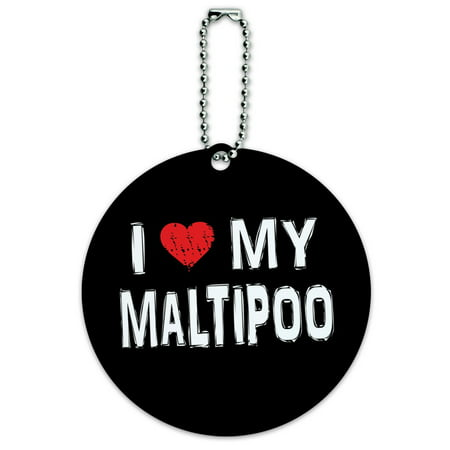 Graphics and More I Love My Maltipoo Stylish Round ID Card Luggage Tag ()