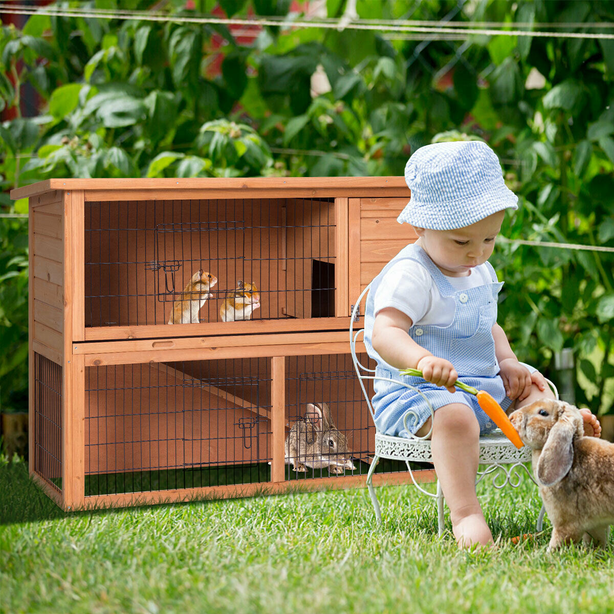Gymax Large Chicken Coop Rabbit Hutch Garden Backyard Wood Hen House Poultry Cage - image 4 of 10