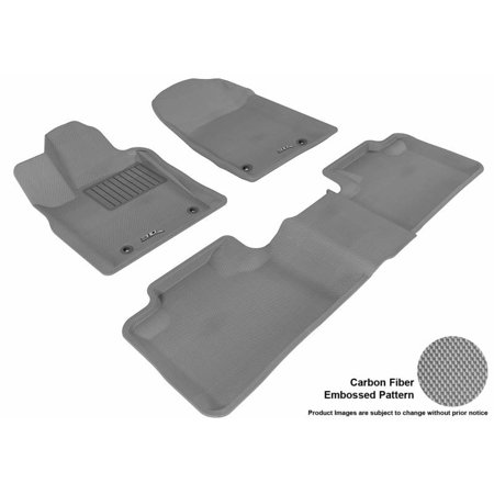 3D MAXpider 2013-2017 Jeep Grand Cherokee 2Nd Row Bench Seat Dual Posts On Driver'S Floor 1st Row 2nd Row Kagu Carbon Fiber Embossed Pattern Gray Floor Mat
