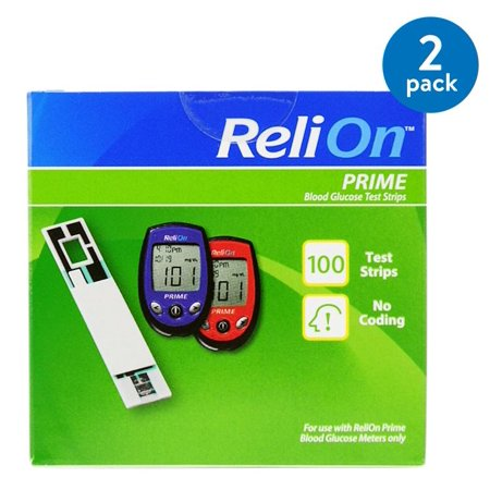 (2 Pack) ReliOn Prime Blood Glucose Test Strips, 100 Ct (Diabetes Test Kit Case)