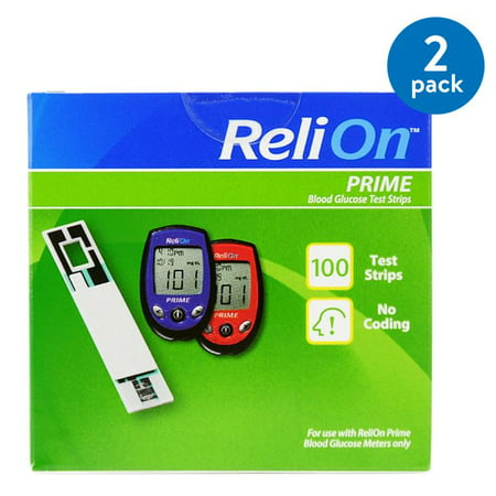 (2 Pack) ReliOn Prime Blood Glucose Test Strips, 100