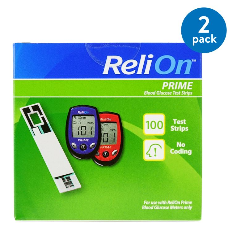 (2 Pack) ReliOn Prime Blood Glucose Test Strips, 100 Ct