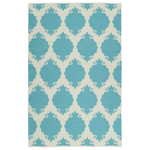 Ebern Designs Dominic Turquoise/Cream Indoor/Outdoor Area Rug