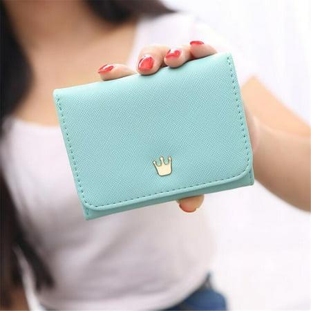 Women Lady Crown Short Mini Money Wallet Fold Bag Coin Purse Card Holder Wallets ()