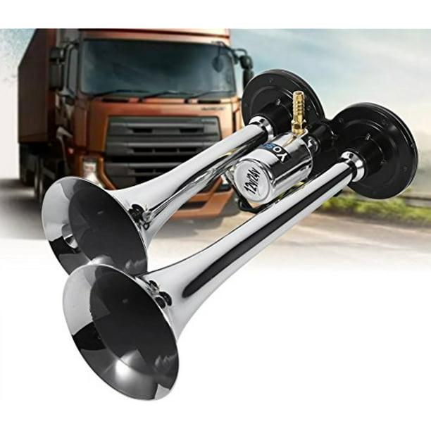 SUNDELY/® 12 Volt Chrome Plated Zinc Alloy Quadruple Trumpet Air Horn for Boat Truck Train Car Vehicle
