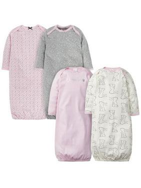 Gerber Baby Girl Lap Shoulder Gowns, 4-Pack