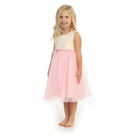 Angels Garment Little Girls Ivory Pink Silk Tulle Spring Dress 2T