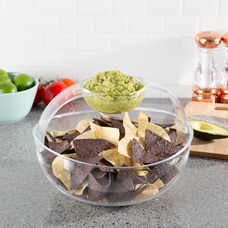 Chip and Dip Bowl-Serving Set for Indoor Outdoor Cocktail Parties and Entertaining-Serveware for Chips, Salsa, Fruit, Dips and More by Classic Cuisine](Fruit Dip Easy)
