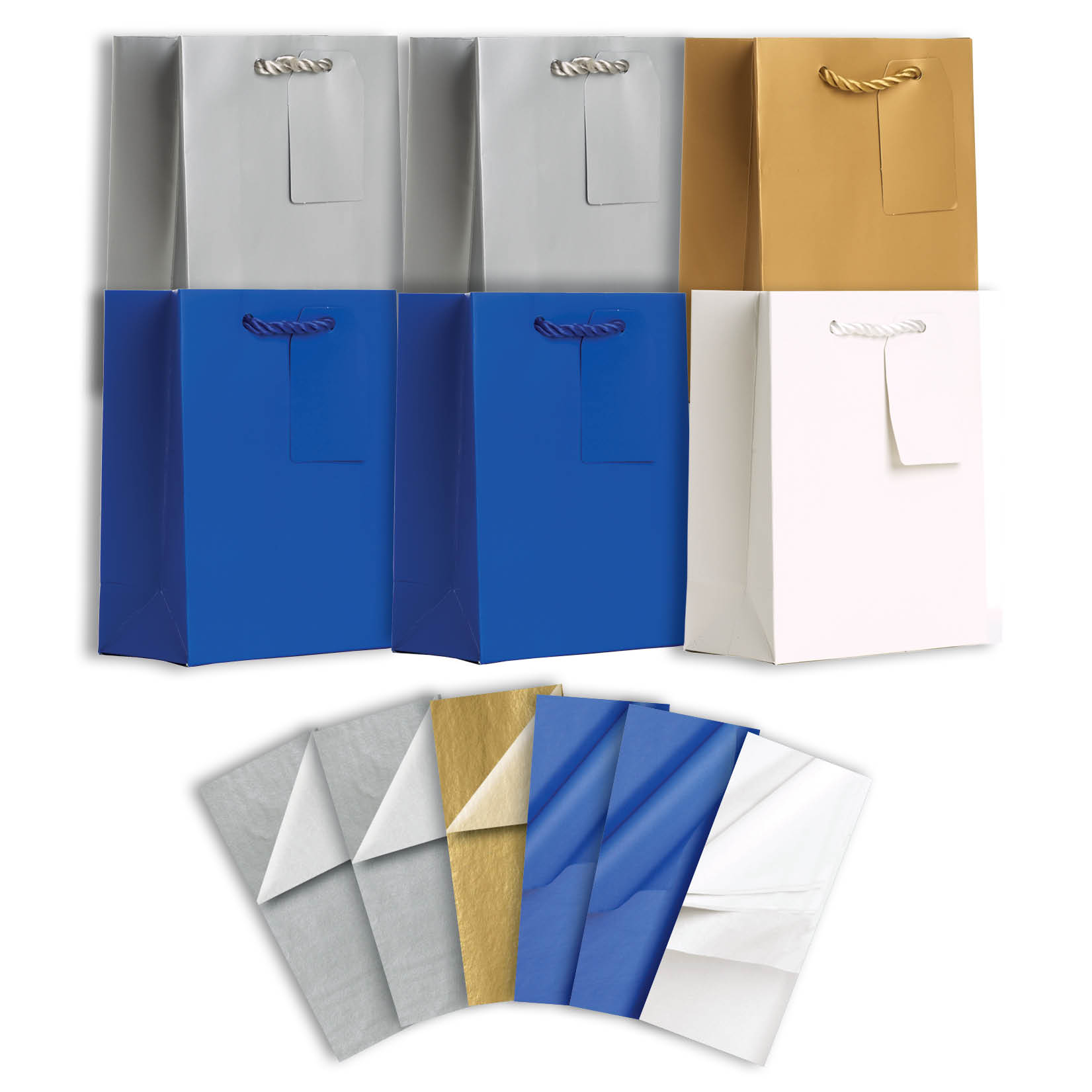 Jillson & Roberts Solid Color Matte Small Gift Bag & Tissue Assortment, Hanukkah (6 Bags)