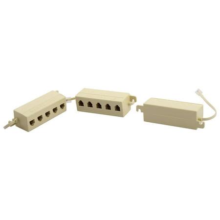 Keystone Phone - Telephone RJ11 6P4C Keystone 1 Male to 5 Female Plug Cord Adapter 3pcs