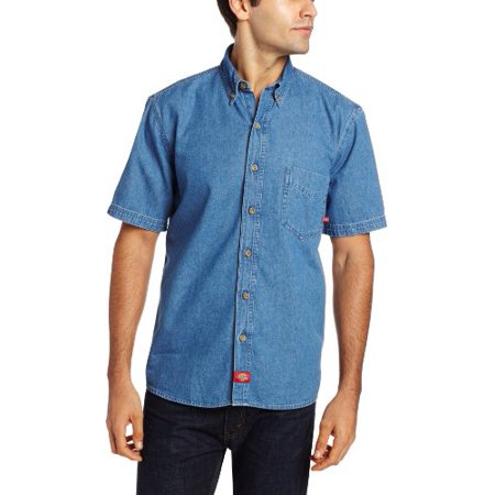 Dickies Men's Big-Tall Short Sleeve Denim Work Shirt, Stone Washed, X-Large/Tall