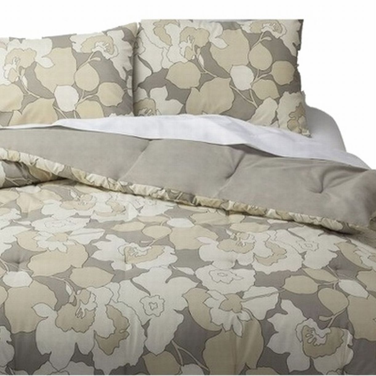 Room Essentials Twin XL Gray & Tan Floral Reversible Comforter Set with Sham