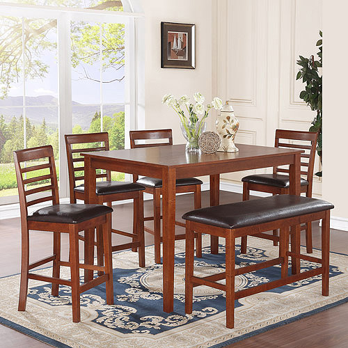 Charming MacCauley 6 Piece Counter Height Dining Set, Walnut