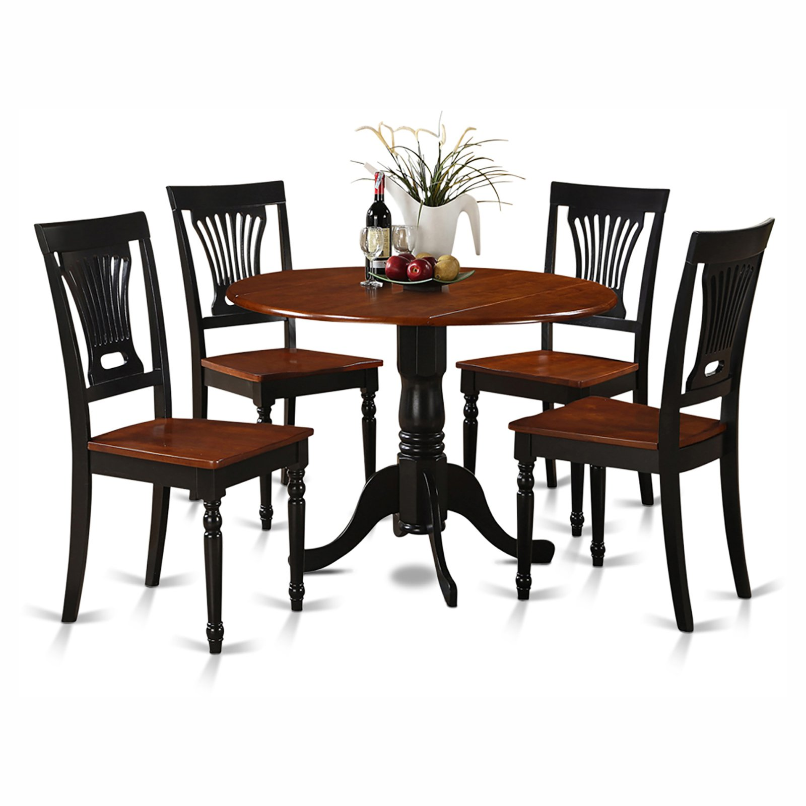 East West Furniture Dublin 5 Piece Drop Leaf Dining Table Set with Plainview Wooden Seat Chairs