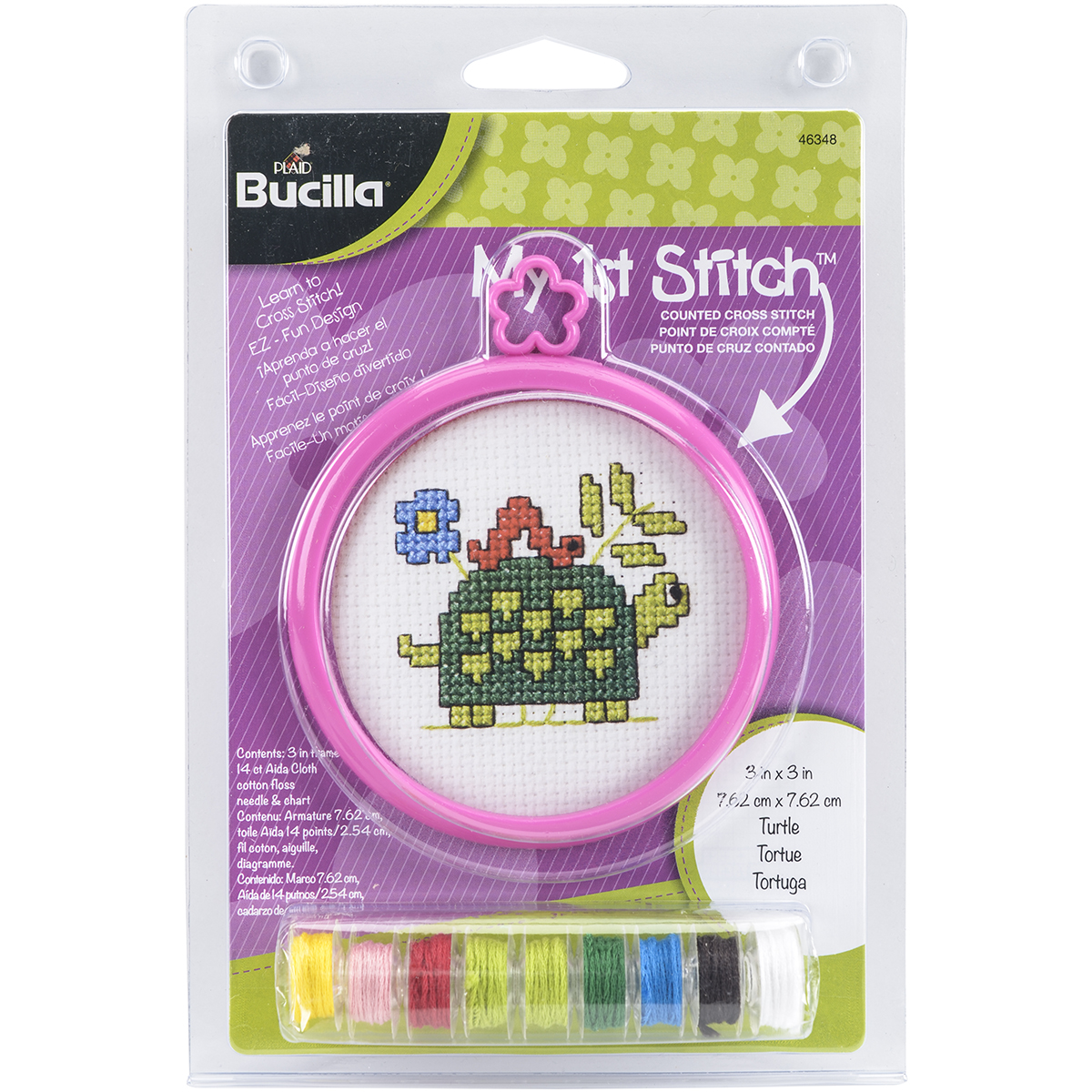 "My 1st Stitch Turtle Mini Counted Cross Stitch Kit, 3"" Round, 14 Count"