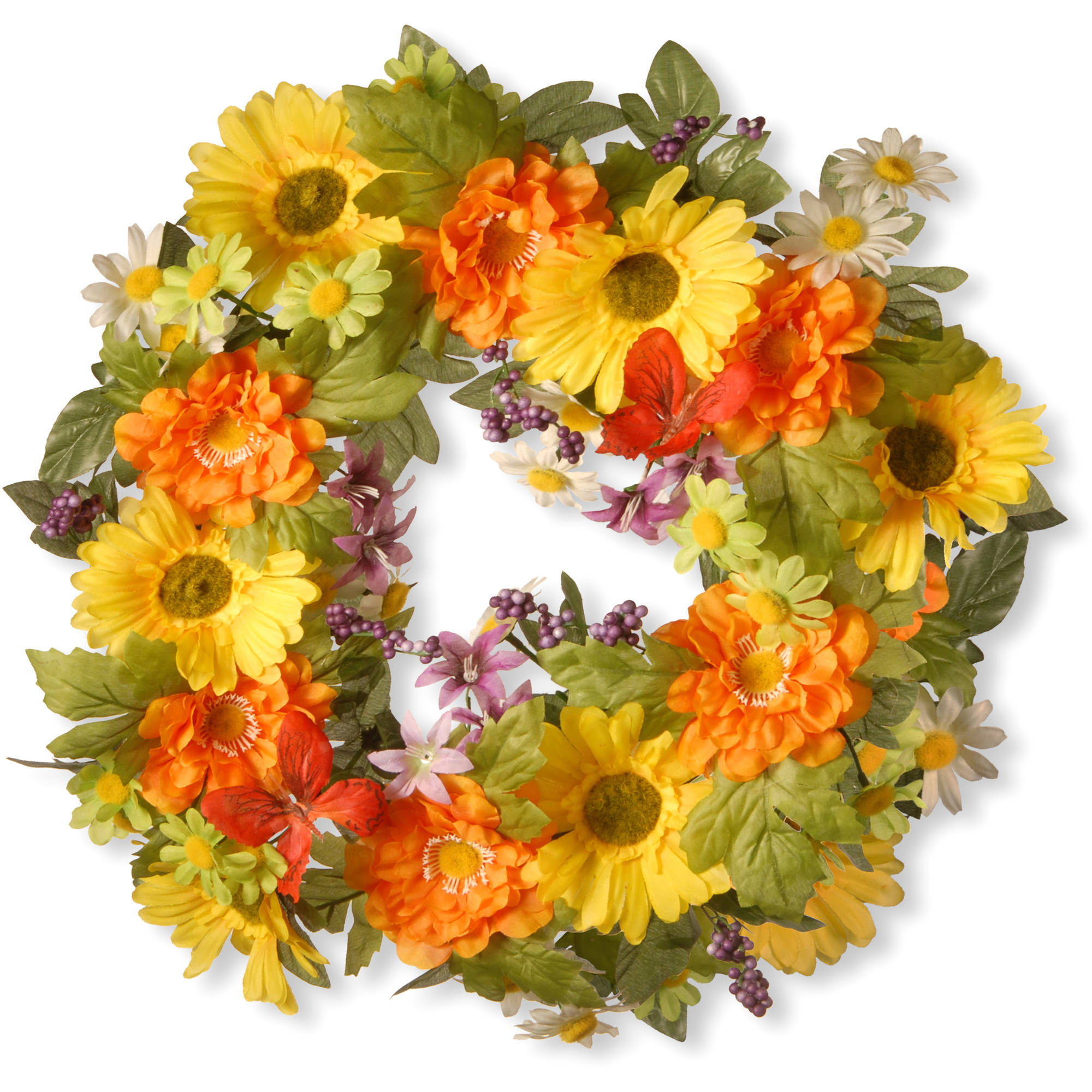 "18"" Daisy Decorated Wreath"
