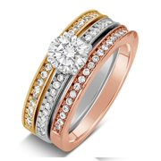 2 carat round cut tri color white rose and yellow gold trio wedding ring set - Trio Wedding Ring Set