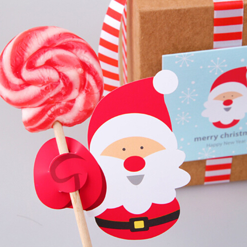 50x Santa Claus Penguin Lollipop Christmas Card lolly sugar-loaf Xmas Party Toy