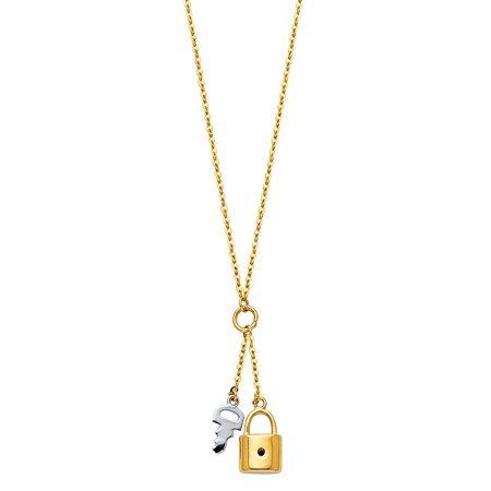 Ioka - 14K Two Tone Gold Key and Lock Pendant charm chain Key to heart Necklace - 17+1""