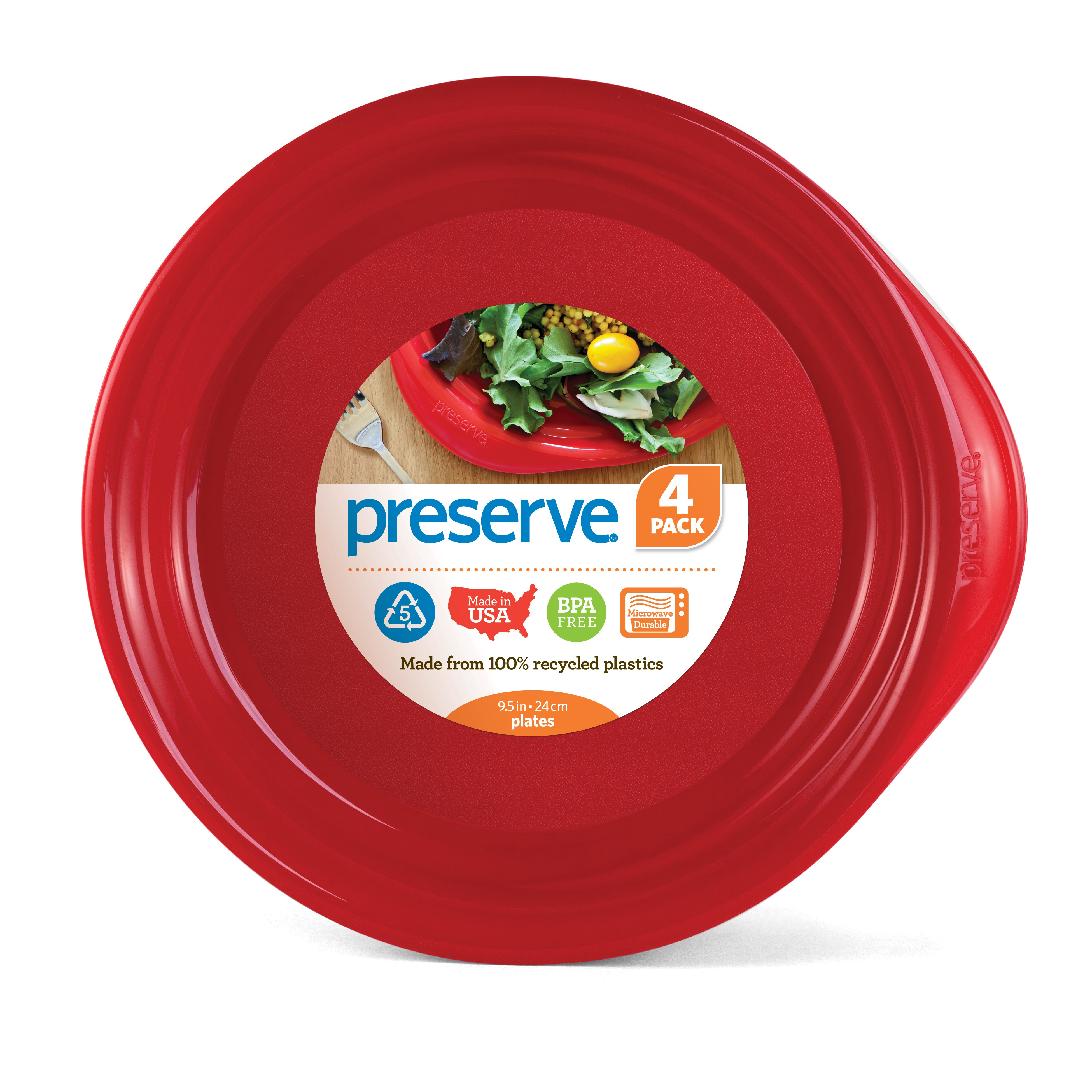Preserve Everyday Plates, Pepper Red, 16 Oz, 4 Ct
