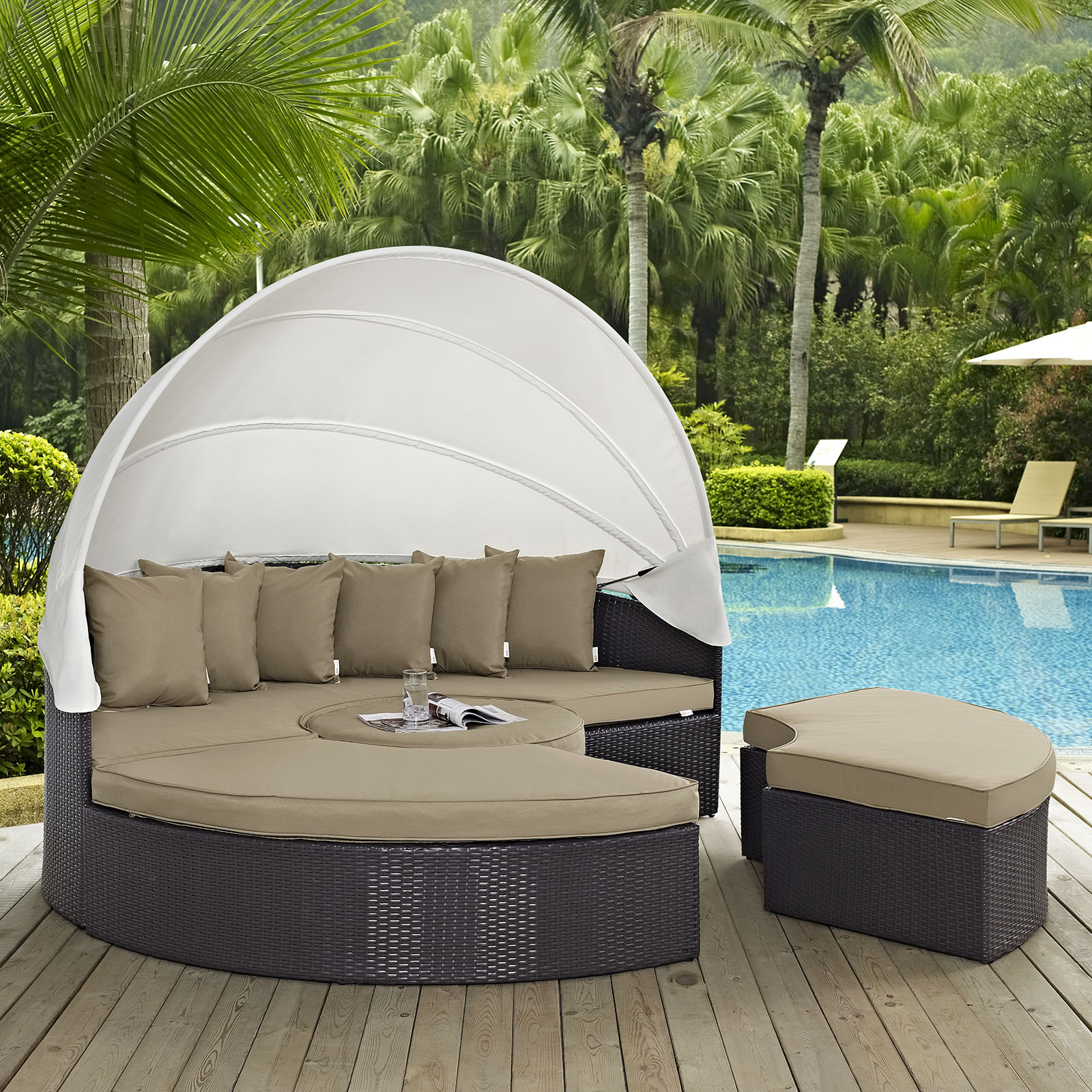 Modway Convene 5 Piece Canopy Outdoor Patio Daybed, Multiple Colors