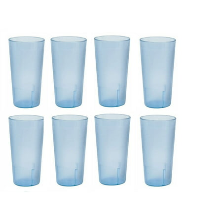Thunder Group 20 Ounce Restaurant Tumbler Beverage Cup, Stackable Cups, Break Resistant Commmerical Plastic, Set of Eight (8) - Blue (Plastic Tumbler Cups)