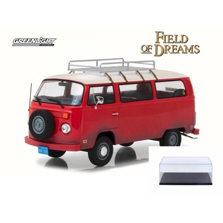 Diecast Car & Display Case Package - 1973 Volkswagen Field of Dreams Type 2 Van, Red w/ Tan - Greenlight 84034 - 1/24 Scale Diecast Model Toy Car w/Display Case (Spongebob Tan Scale)